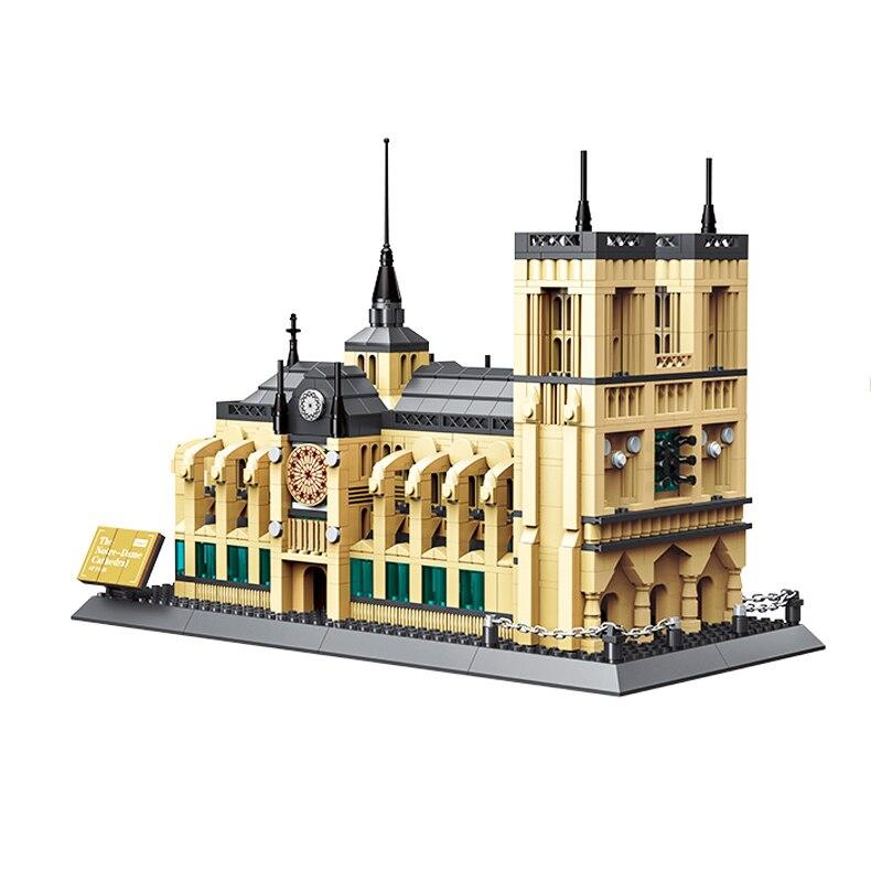 Wange 5210 Architecture NOTRE DAME CATHEDRAL Of Paris Building Blocks Classic Landmark Model Bricks Toys For Children