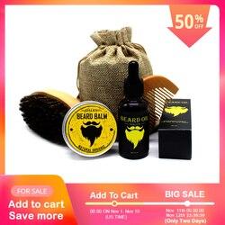 Bellylady 5 pçs/set men bigode creme barba óleo kit com bigode pente escova saco de armazenamento estilo barba conjunto