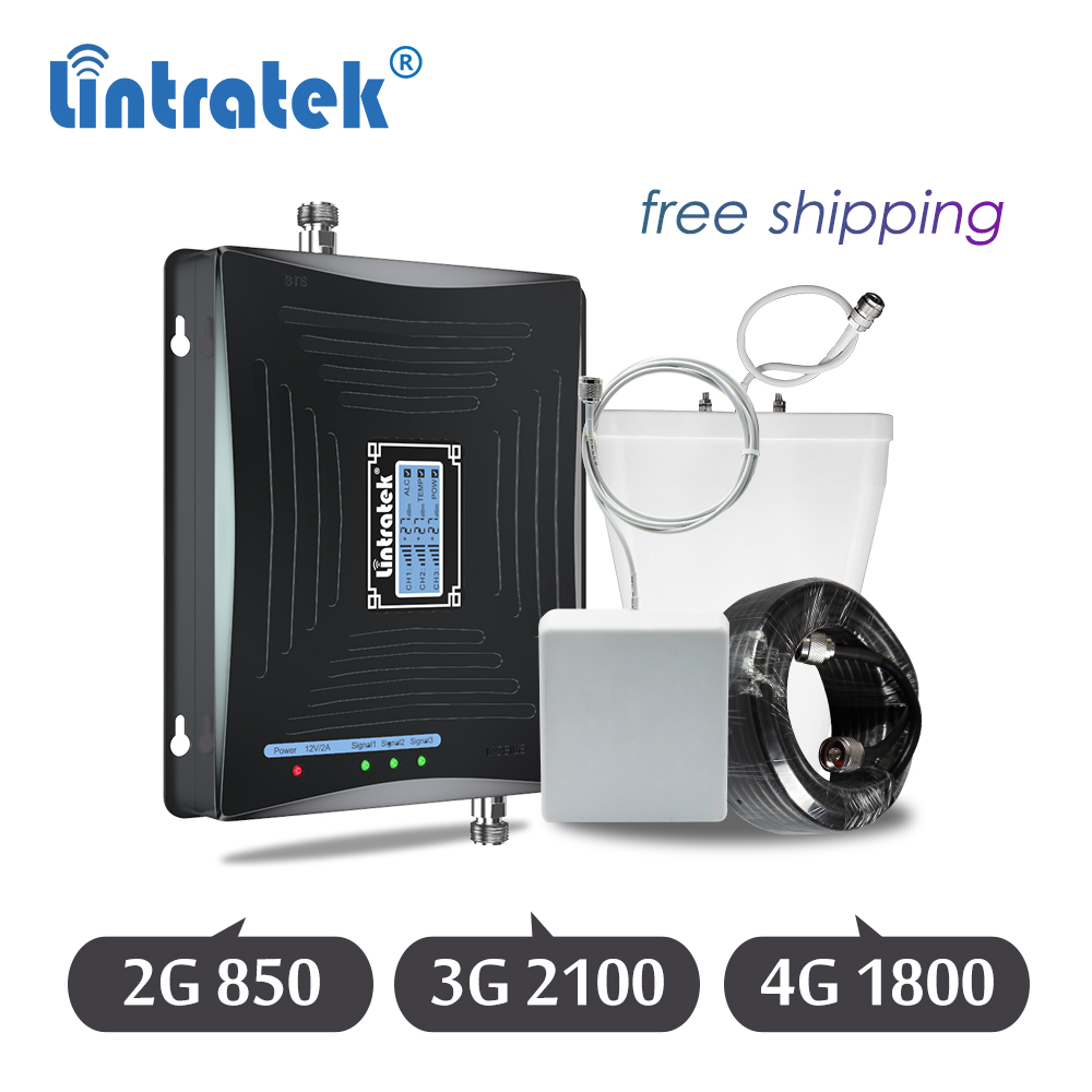 Lintratek 2G 3G 4G Signal Booster 850/1800/2100 Tri-Band DCS WCDMA Cell Phone Cellular Signal Repeater Lte 4g Amplifier Set 6