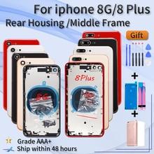 """החלפת אחורי דיור עבור iphone 8G 8 בתוספת התיכון מסגרת זכוכית כריכה אחורית עם לוגו CE ארה""""ב sim מגש צד מפתח חלקי + סוללה דבק"""
