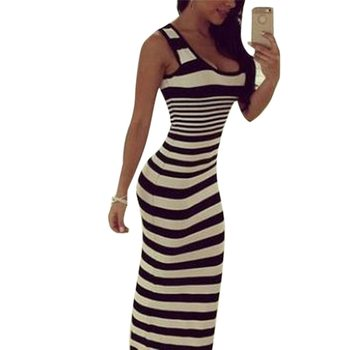 2020 Women Bodycon Long Dresses Sexy Sleeveless Plus Size Dresses Summer Striped Vintage Skinny Party Maxi Dress Vestidos 3XL image