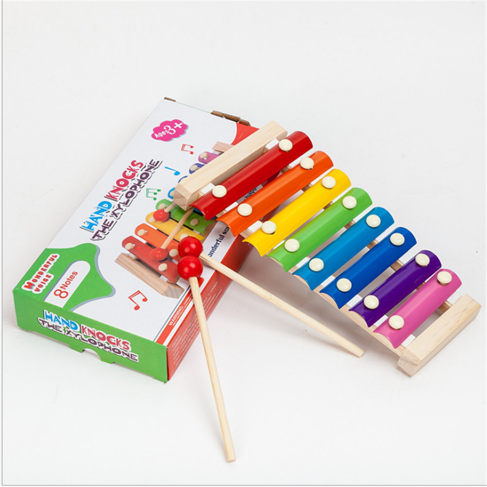 2019 Kid Wooden Musical Instrument Children Baby Toddler Xylophone Funny Wooden Toys With 2 Mallets Educational Toys Gifts(China)