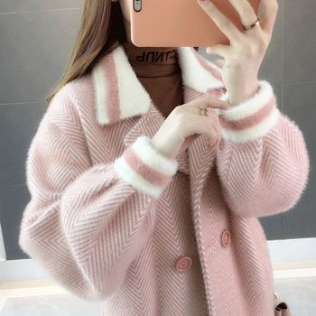 Autumn and winter new imitation mink fleece jacket womens short Harajuku lazy sweater spring autumn knitted cardigan