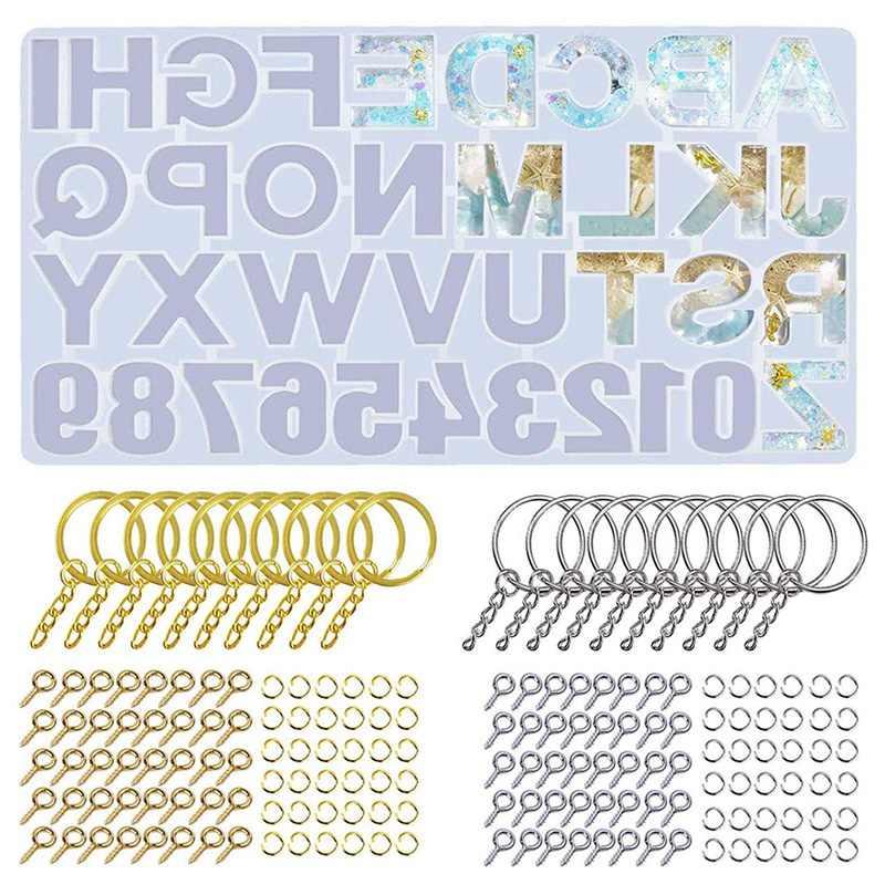 224 piezas Moldes de resina epoxi-Molde de silicona de alfabeto inverso con alfileres de ojo de tornillo para hacer joyas Llavero Decoraci/ón colgante Manualidades de bricolaje