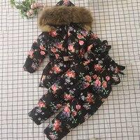 2019 Winter Kids Sets Fur Hoodie Boy Set Down Jacket Overalls Girls Clothing Sets Warm Kids Snow Suits Children Boutique Clothes