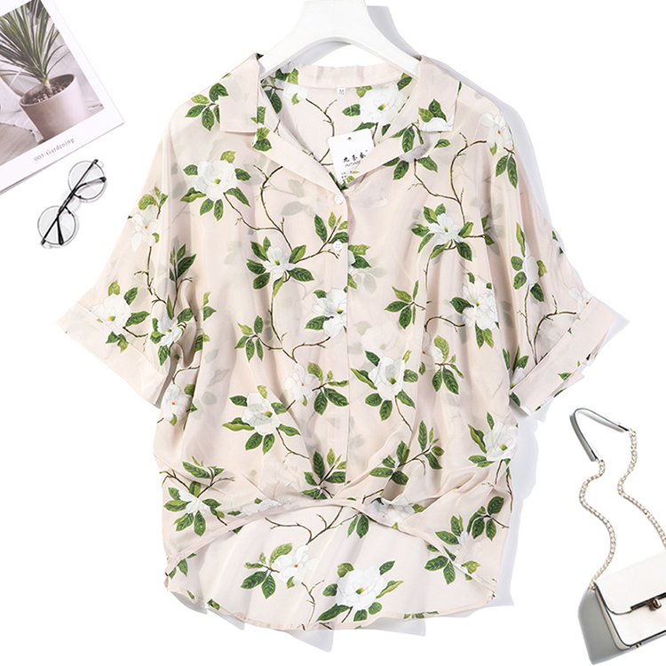 Women's 100% Pure Silk Top Shirt Blouse Loose Casual Button Short Sleeve  Size M L JN050
