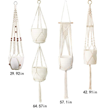 Macrame Plant Hanger and  Hooks Indoor Outdoor Hanging Plant Holder Hanging Planter Stand Flower Pots for Decorations - Cotton