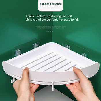 Z tworzywa sztucznego półka łazienkowa organizator zaczepiana półka narożna Caddy łazienkowa półka narożna prysznic do przechowywania uchwyt ścienny uchwyt na szampon tanie i dobre opinie Jeden poziom Typ ścienny Łazienka półki Rogu Corner storage shelf Other