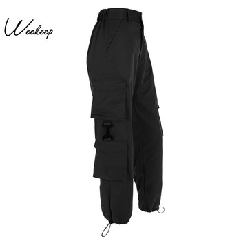 Weekeep Patchwork High Waist Cargo Pants Women Loose Streetwear Pockets Pencil Pants Fashion Ankle-length Hip Hop Trousers Women