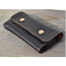 Handmade Genuine Leather Pencil Bag Portable  Leather Pen Curtain Retro Style pen holder for office School Stationery