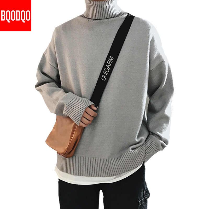 Tebal Turtleneck Sweater Pria Fashion Kebugaran Hitam Biru Rajutan Sweater Pria Jepang Gaya Hip Hop Streetwear Pullovers Homme 3XL