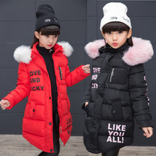 Girls Jackets Warm-Coats Fur-Collar Spring Baby Long-Section Fashion Autumn New for Medium