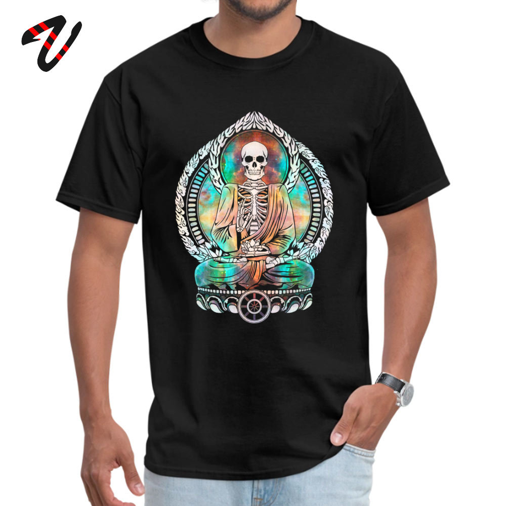 Death Ganeesha Buddhist Skeleton Skull <font><b>OM</b></font> <font><b>Tshirt</b></font> Funny Print Short Sleeve T-shirts100% Cotton Tops T Shirt for Men Free Shipping image