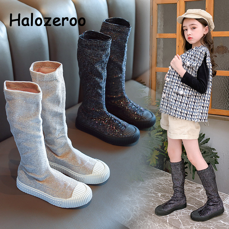 New Autumn Kids Knee High Boots Children Glitter Sock Boots Baby Girls Princess Shoes Brand Black Boots Fashion Boots Warm Boots