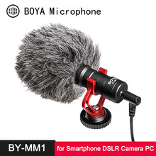 Boya BY-MM1 microfone cardióide shotgun para iphone android smartphone canon nikon sony dslr câmara de vídeo do consumidor pc mic