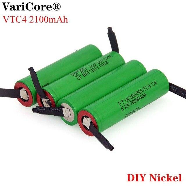 Varicore 새로운 3.6 v 18650 vc18650vtc4 2100 mah vtc4 20a 30a 방전 충전식 배터리 용접 니켈 시트