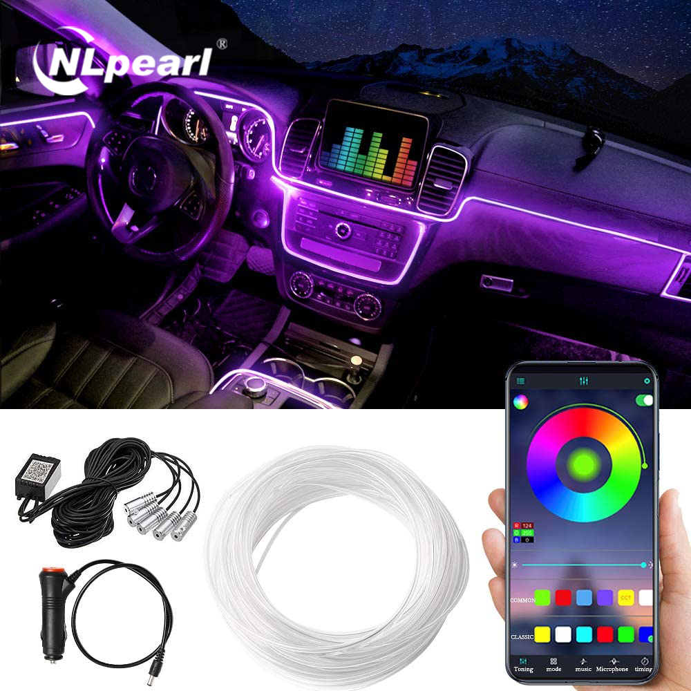 NLpearl RGB Car Atmosphere Neon LED Strip Light Multiple Modes App Sound Control Car Interior Light Auto Neon Decorative Lamp