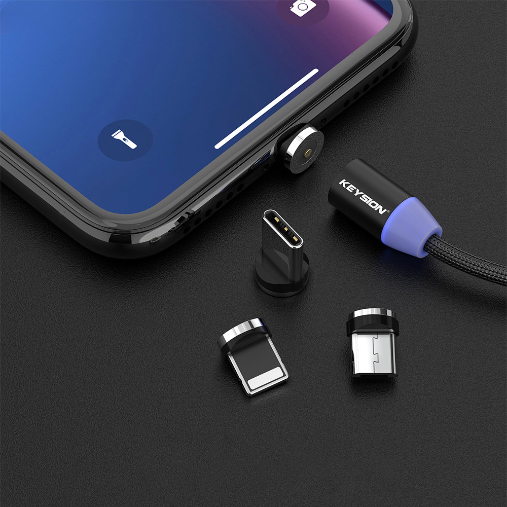 KEYSION LED Magnetic USB Cable Fast Charging Type C Cable Magnet Charger Data Charge Micro USB Cable Mobile Phone Cable USB Cord 5