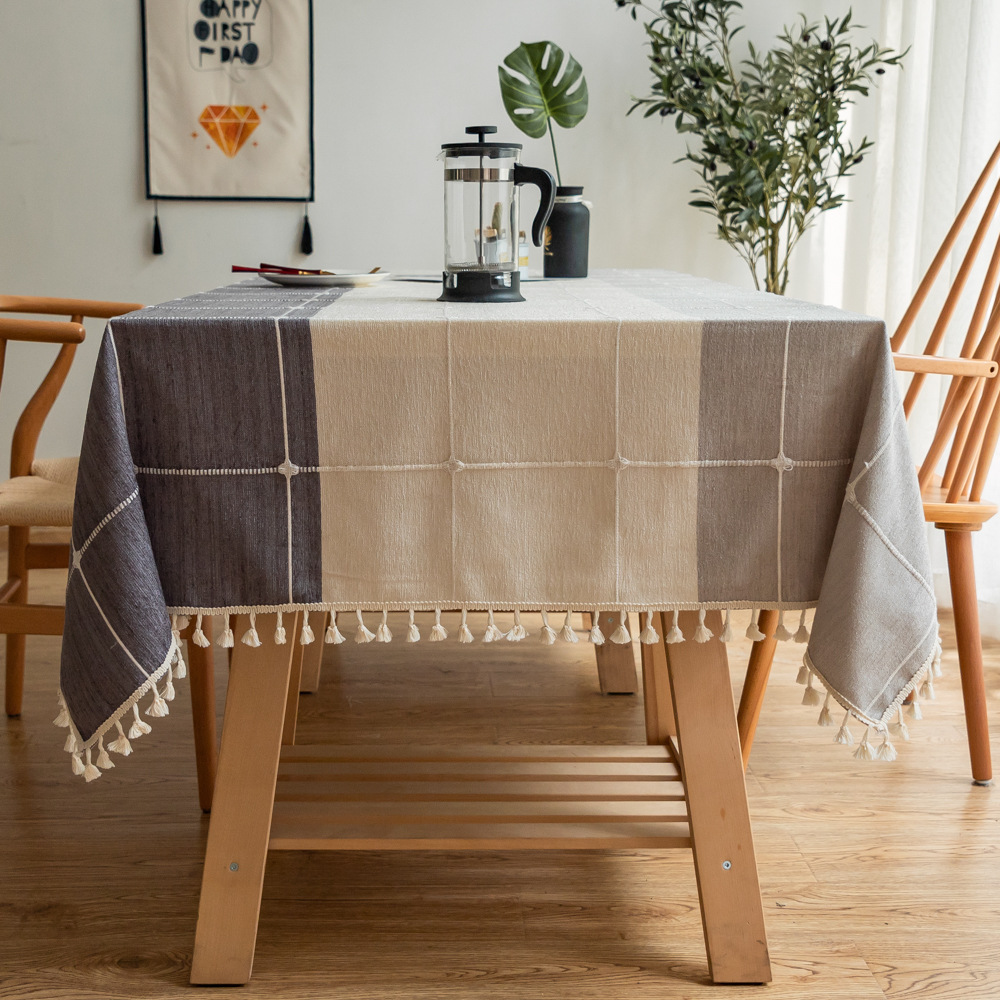 Tassel Square Lattice Cotton Linen Tablecloth For Table Cover Table Dining Coffee Desk Cloth Party Wedding Birthday Decoration