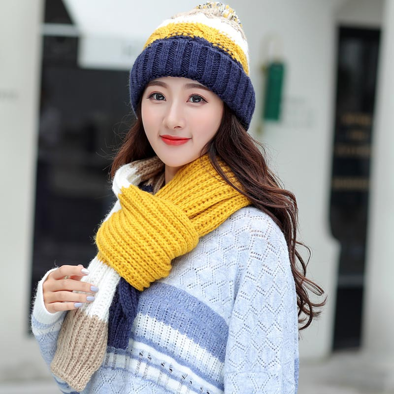 Women's Hat And Scarf Gloves Set For Women Three Pieces Kitted Wool Winter Hats For Women Keep Warm Scarf Glove Set Beanie