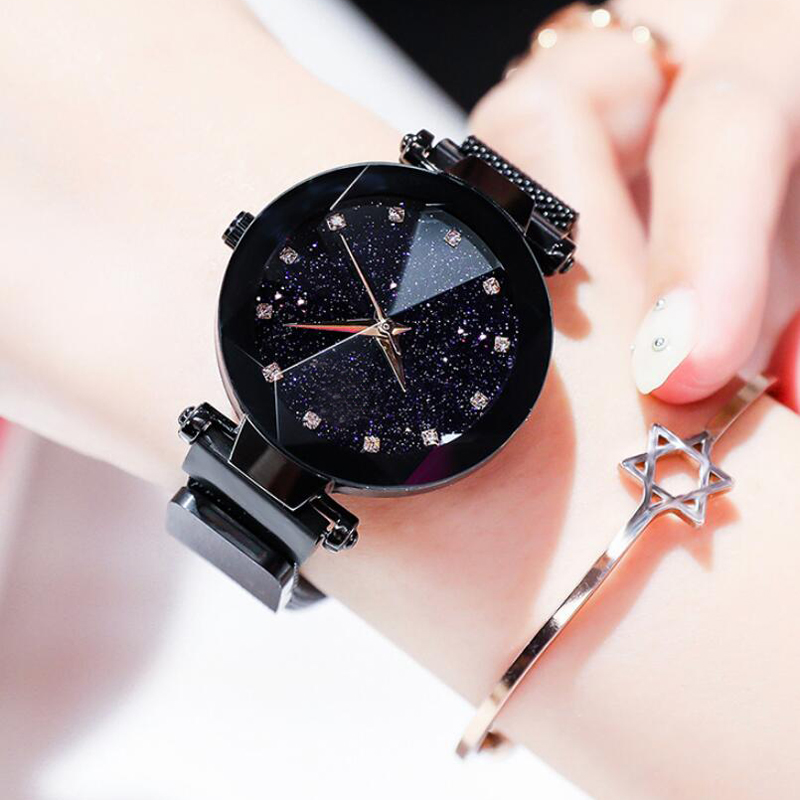 Luxury Starry Sky Stainless Steel Mesh Bracelet Watches For Women Crystal Analog Quartz Wristwatches Ladies Sports