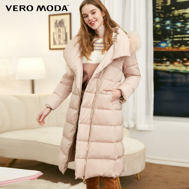 Vero Moda Women's 90% White Duck   Down   Waist Zipper Hooded Raccoon Fur Long   Down   Jacket Parka   Coat   | 318412532