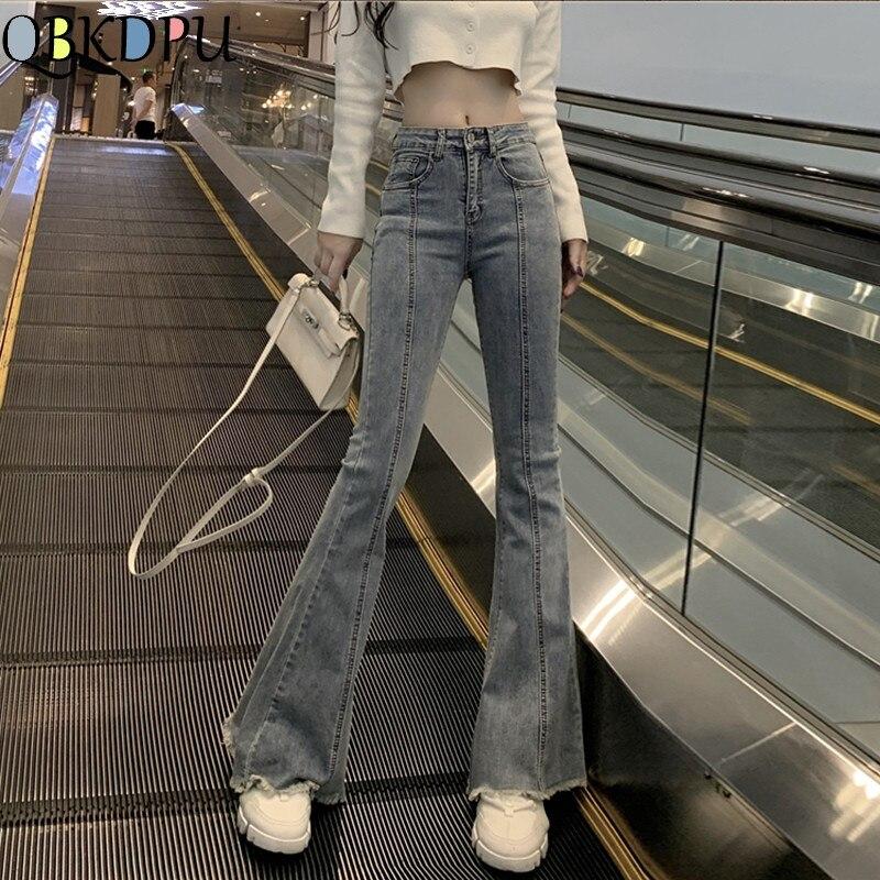 High Waist Bell Bottom Long Jeans For Women Female Wide Leg Stretch Skinny Flare Denim Pants Ladies Casual Light Blue Streetwear