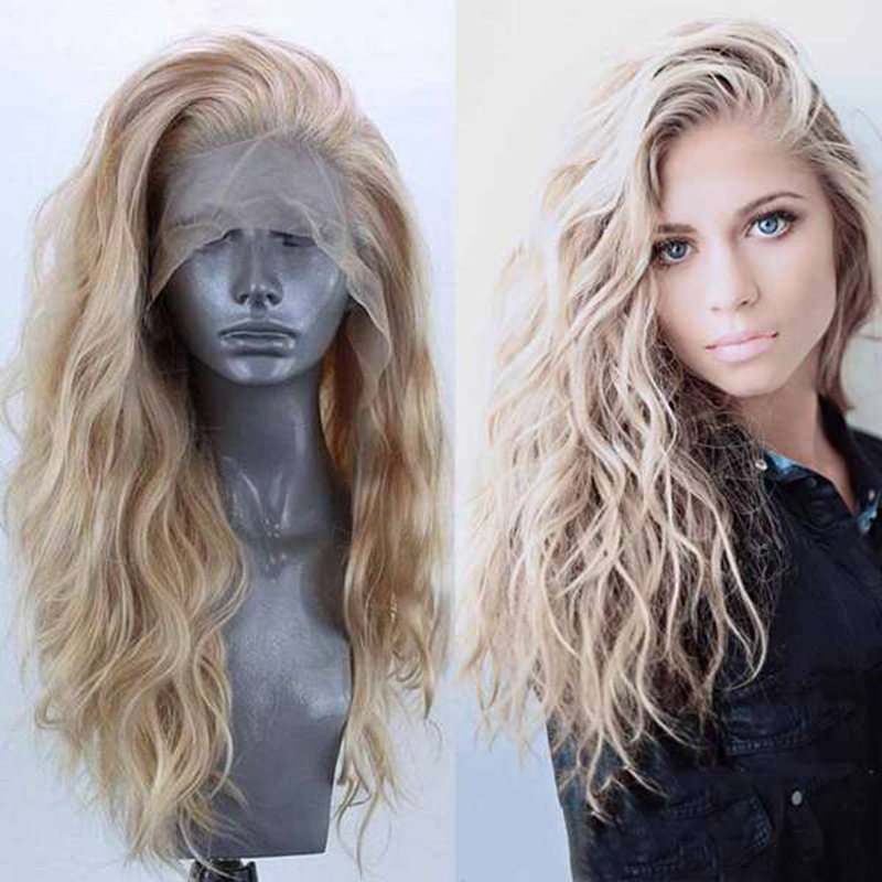 Gres Women Synthetic Lace Front Wigs Blond Wig Long Wavy Hair With Baby Hairline Lace Front Wig Side Part For The White