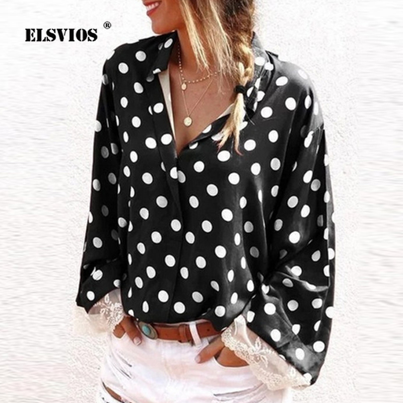 ELSVIOS Womens Tops and   Blouses   Plus Size Long Sleeve Lace Patchwork   Blouse   Autumn V-neck Polka Dot   Shirt   Femme Streetwear Blusa