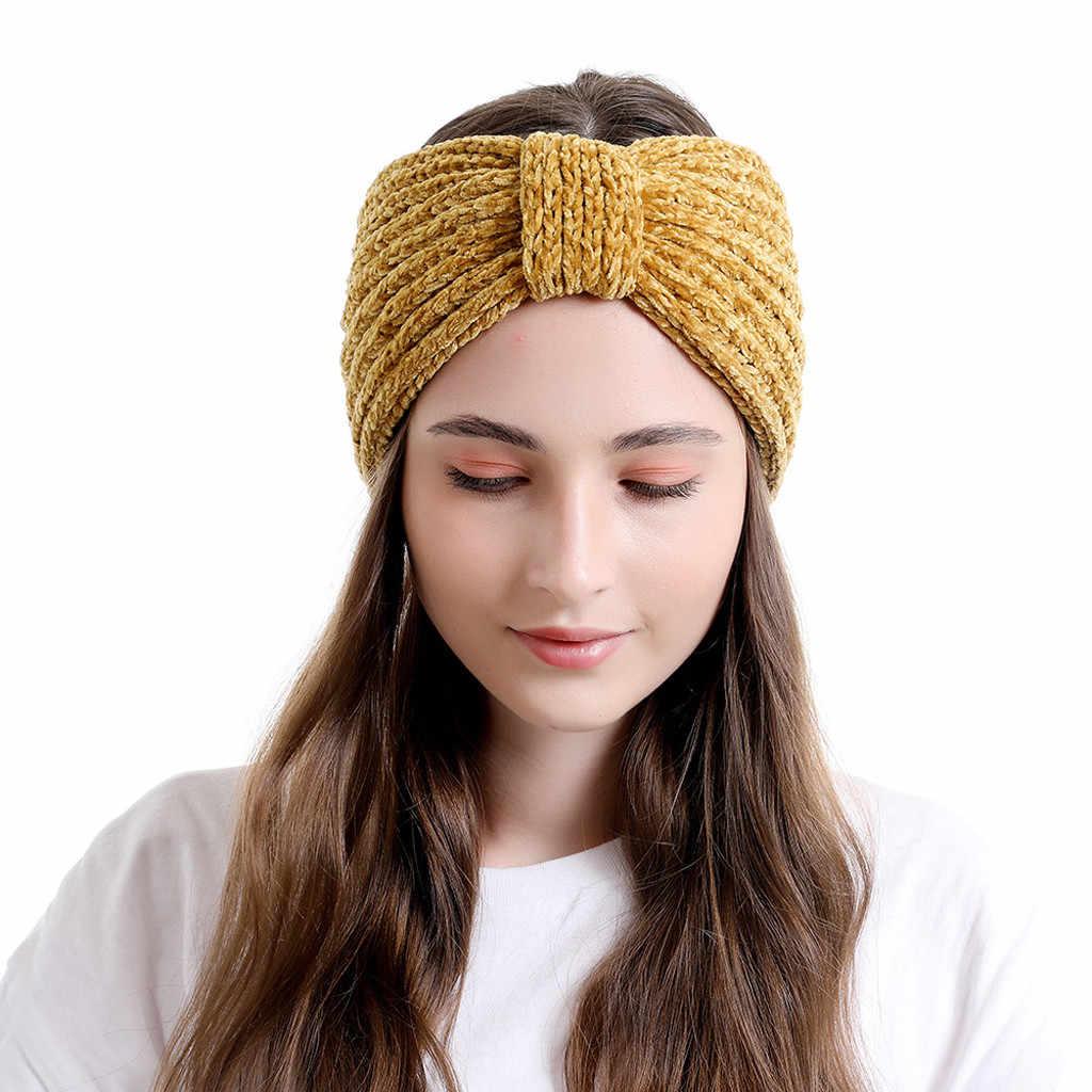 كبير القوس الأصفر متماسكة القبعات الخريف والشتاء الصوفية لون نقي القبعات الصوف محبوك قبعة رباط شعر عصابة رياضية للرأس boina feminina