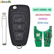 3 Knoppen Afstandsbediening Sleutel Fob Fsk 434Mhz ID49 Chip Voor Ford Nieuwe Tourneo Transit /Transit Custom GK2T 15K601 AB A2C94379403