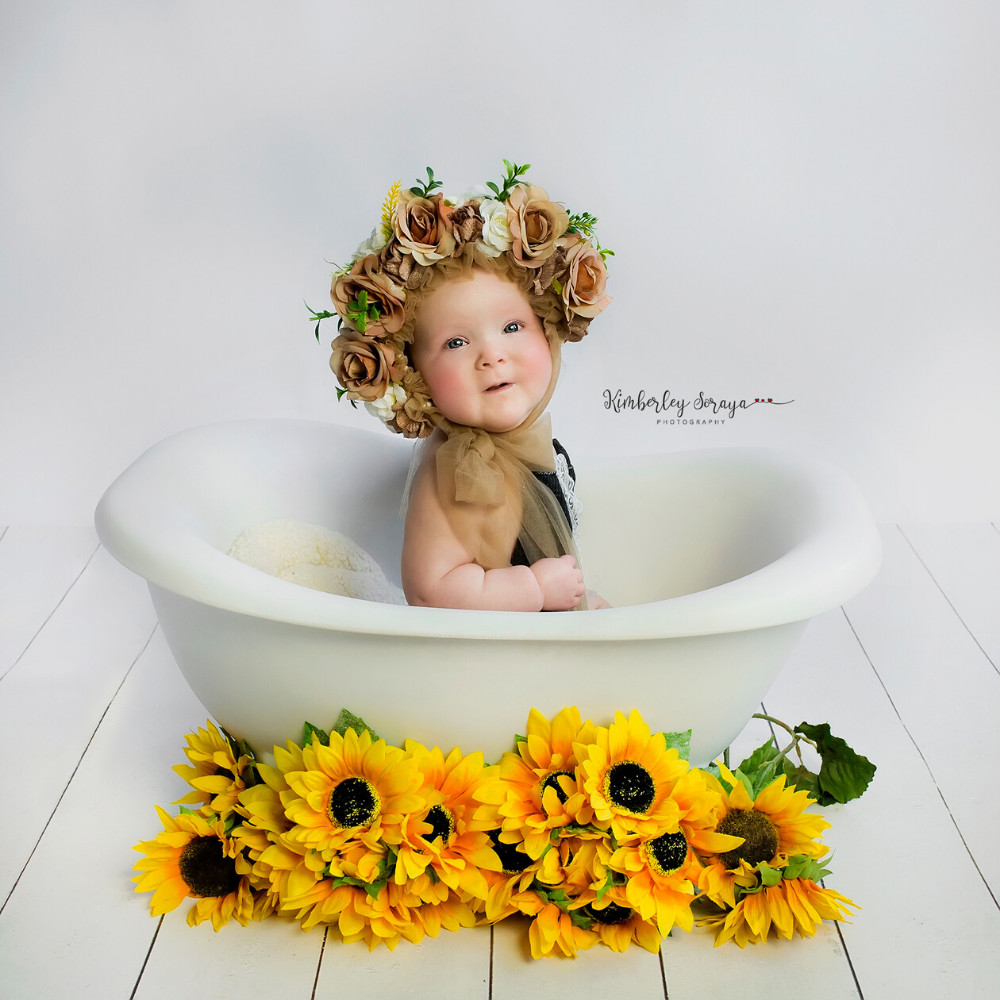 Don&Judy 2PCS/set Accessories Including Newborn Sitter Floral Bonnet and 150x45cm Lace Wrap Baby Girl Hat For Photo Shoot Props
