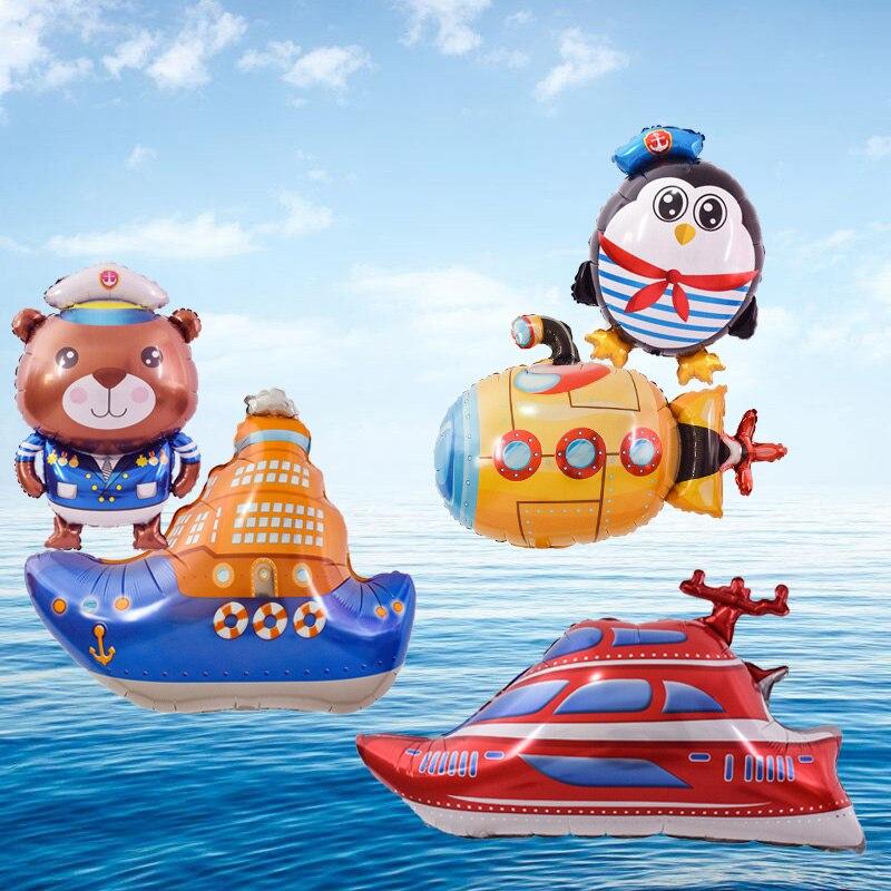 1pc navy Submarine Ship Foil Balloons Pirate Boat Aluminum Ballon Maritime Transport Birthday Party decorations kids air Globos