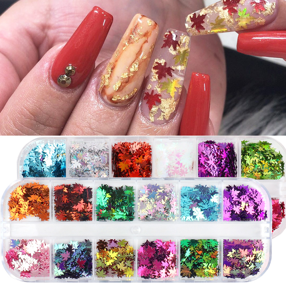 Fall Nails Glitter Flakes Sequins Maple Leaf Dazzling Mirror Sheet Sticker for Manicure Nail Decor Paillette (4)