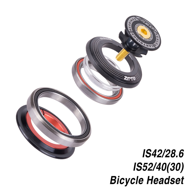 """Bicycle Headset 42mm 52mm CNC 1 1/8"""" 1 1/2"""" MTB Bearing Straight And Tapered Tube Fork IS42 IS52 Steer Column Integrated System"""