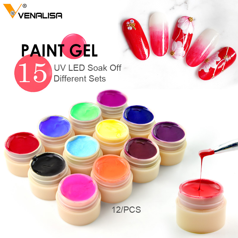 Venalisa New 2020 Manicure Nail Art Tips 180 Color UV LED Soak Off Gel Lacquer Polish Paint Gel Ink UV Gel For Nail Art Design