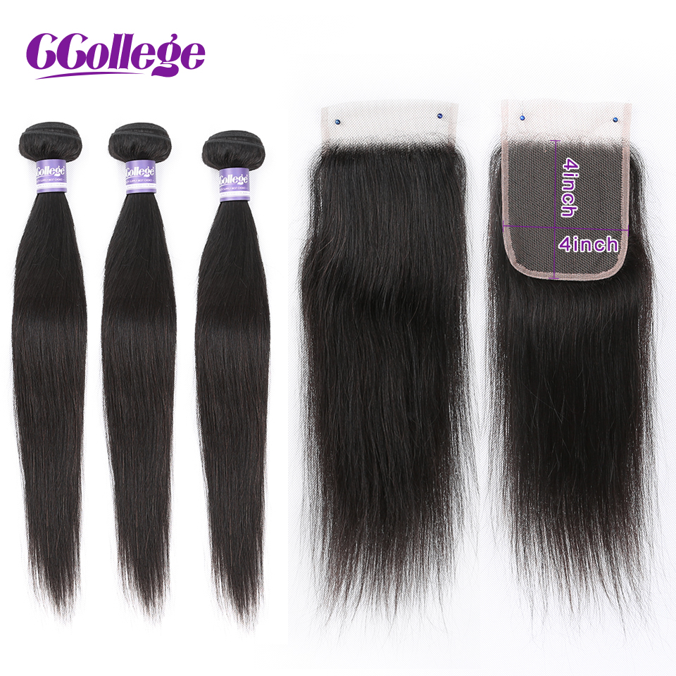 Brazilian Straight Hair Bundles With Closure #1B Brazilian Hair Weave Non Remy Human Hair With Lace Closure CCollege-in 3/4 Bundles with Closure from Hair Extensions & Wigs    1