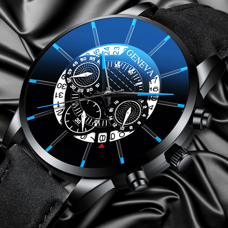 Trendy Men's Watch Leather Quartz Personality Creative Three Eyed Blue Pointer Wrist Watch Male Business Simple Exquisite Clock