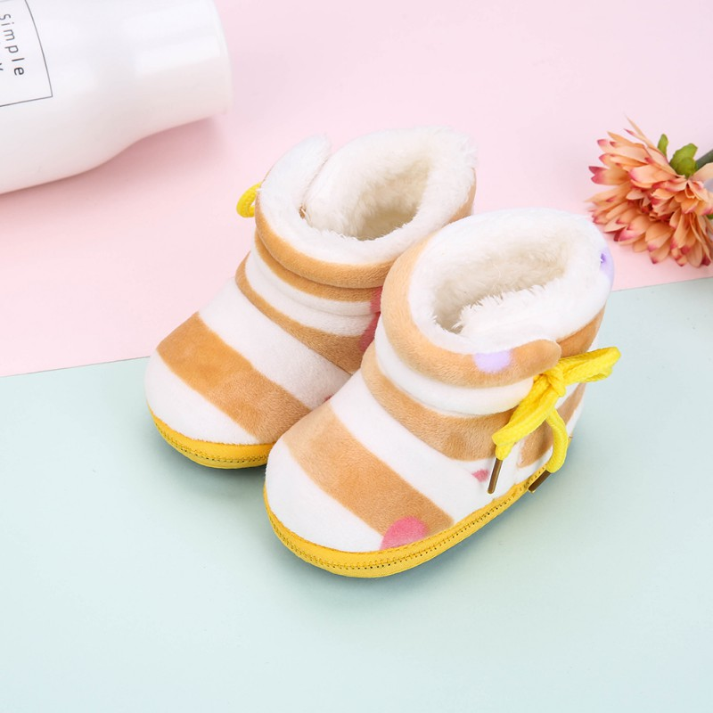 Winter Warm Baby Snow Boots Plus Velvet Toddler Boots New Baby Shoes Newborn Soft Sole Anti-slip Crib Shoes Y13