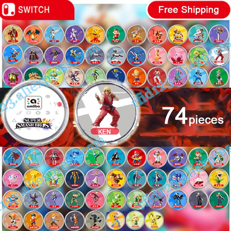 NFC Amiibo Coin Tag for Super Smash Bro 74 pieces