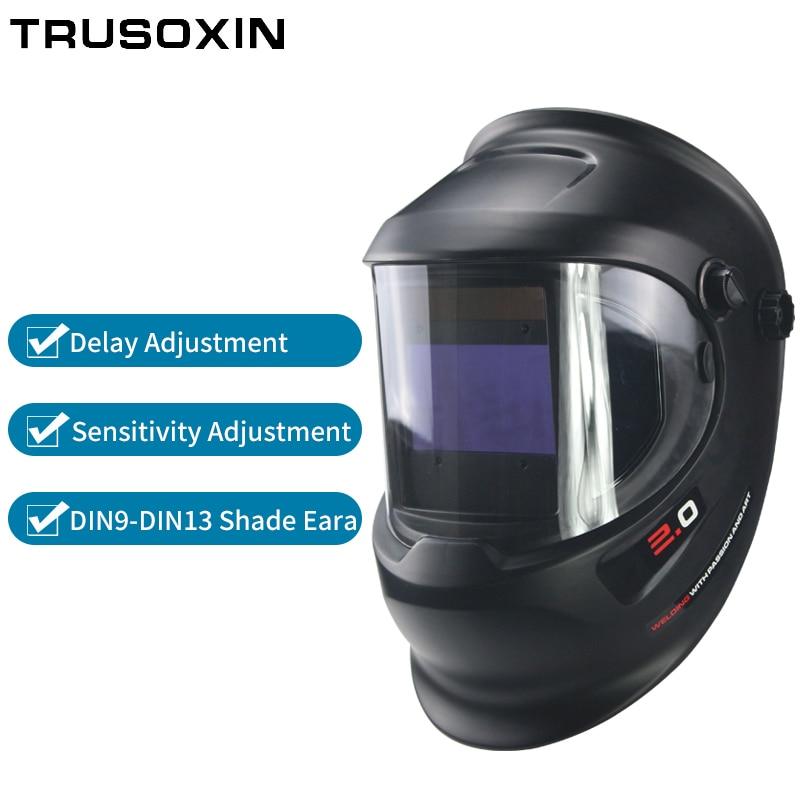 Novo grande vista 360 ° com janela lateral DIN9 DIN13 máscara de soldagem capacete de soldagem
