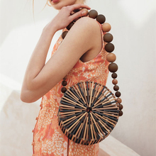 Casual Bamboo Beach Bag Women 2020 Summer New Hand Woven Hollow Out Round Straw Handbag Ladies Retro Wooden Basket Bags Holiday