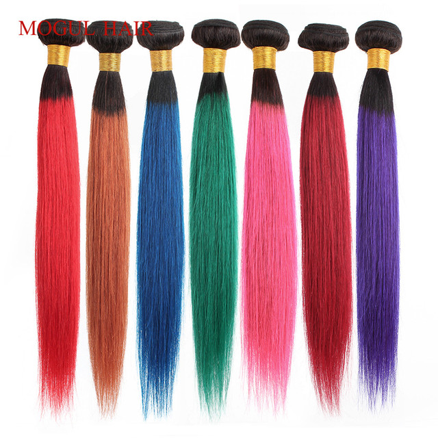 Cabello MOGUL Ombre 1B rojo azul verde púrpura extensiones de cabello recto cabello brasileño 1 Uds Remy cabello humano extensión 12 26 pulgadas
