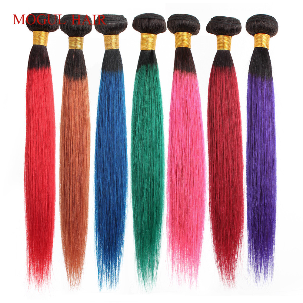 MOGUL HAIR Ombre 1B Red Blue Green Purple Straight Hair Weave Bundles Brazilian Hair 1 Pcs Remy Human Hair Extension 12-26 Inch