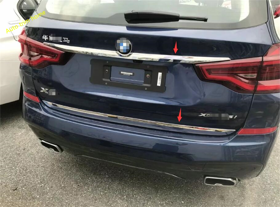 Lapetus 2 Piece Fit For BMW X3 G01 2018 2019 2020 ABS Chrome Rear Trunk Door Bottom + Upper Tailgate Streamer Strip Cover Trim|Chromium Styling| |  - title=