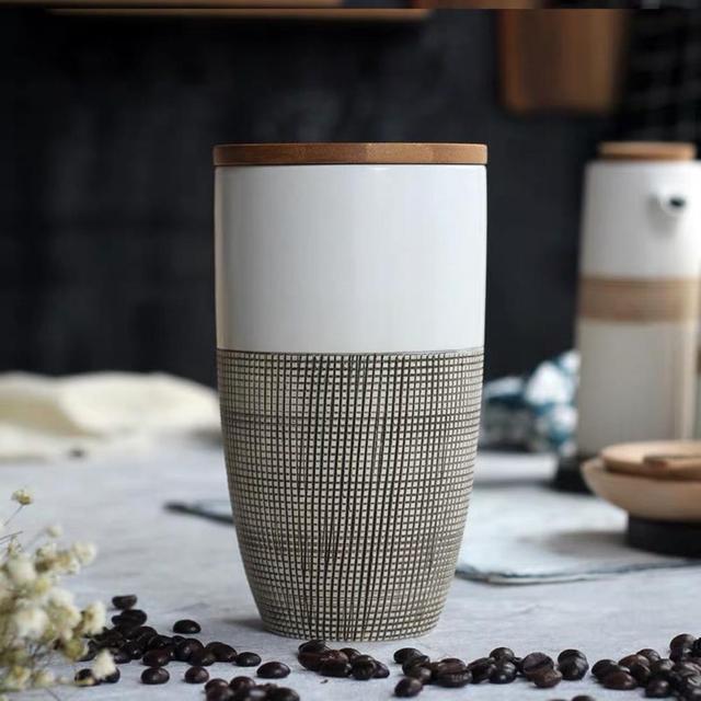 Creative Ceramic Coffee Bean Jar Handmade Storage Bottle Sealed Coffee Bottle Kitchen Jar Sugar Dried Fruit Cereal Storage Tank 5