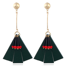 New fashion long triangle pendant earrings luxury geometric wood female jewelry