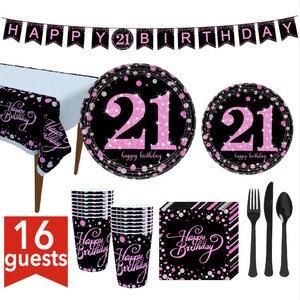 Позолота с днем рождения украшения, товары для вечеринки взрослых соломы Бумага пластина Aniversario Декор 21/30/40/50/60/70/80th розового и серебристого ...