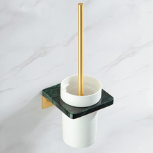 Nordic Luxury Green Marble Toilet Brush Holder Brass Brushed Gold Bathroom Accessories Toilet Clean Brush Holder Wall Mounted