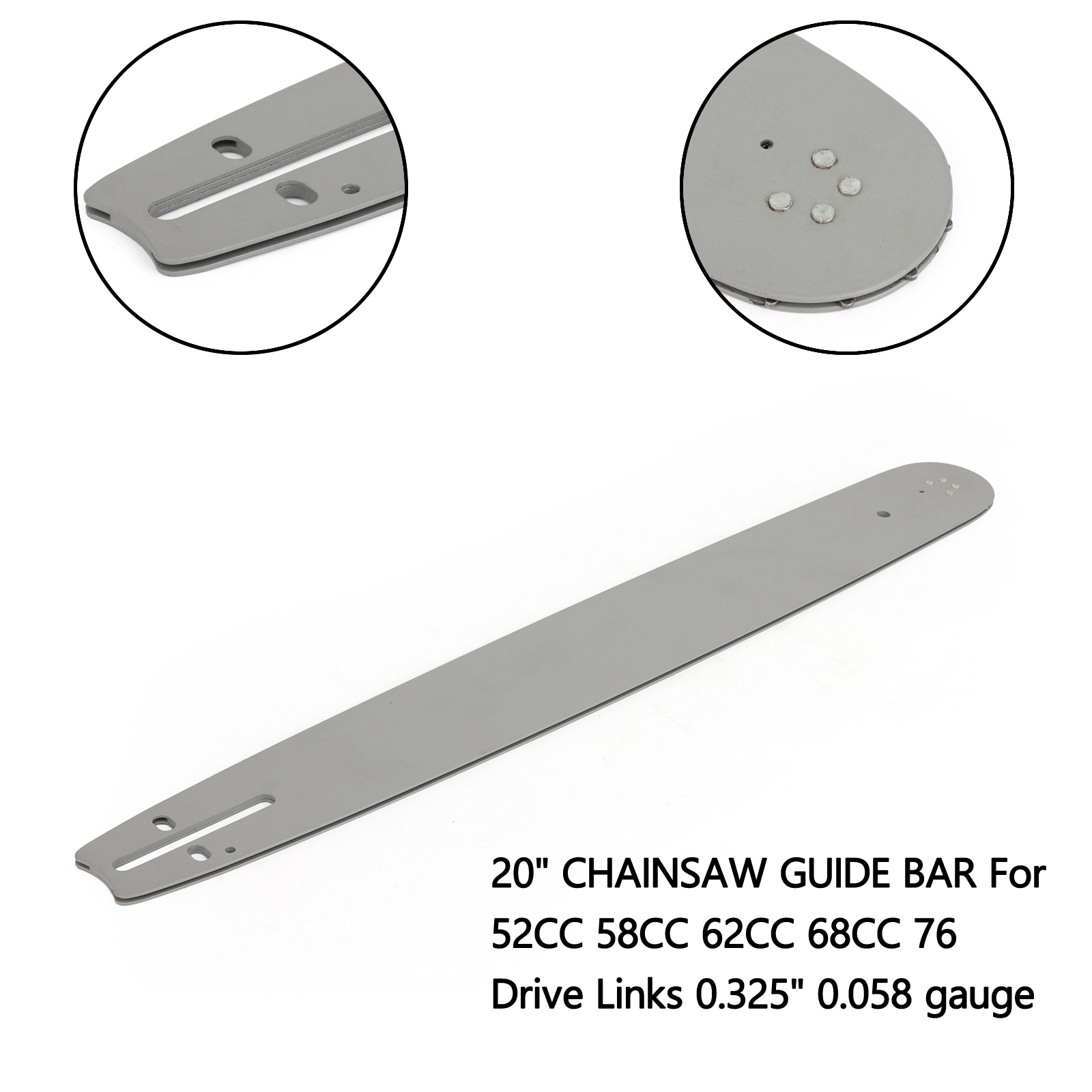 Areyourshop 20 Inch CHAINSAW GUIDE BAR For 52CC 58CC 62CC 68CC 76 Drive Links 0.325